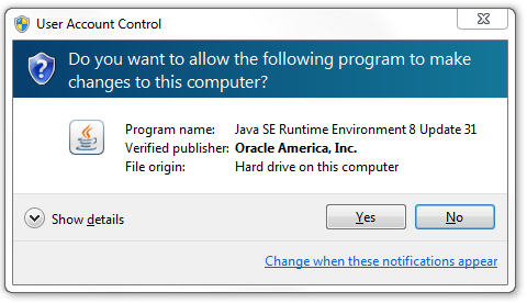 Java User Account Control Prompt
