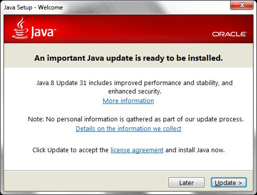 Java Update Request