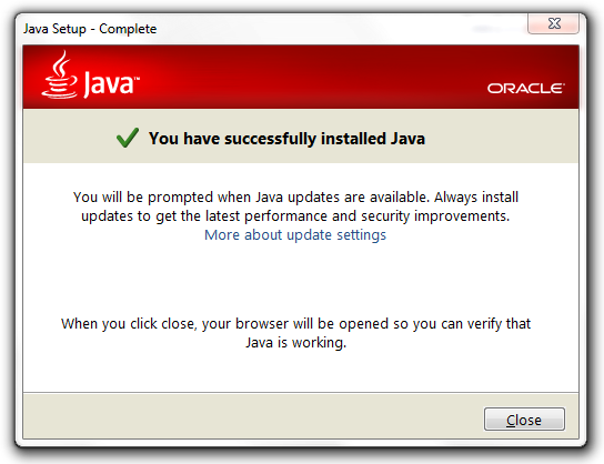 Java Successfully Installed